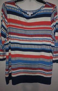 Charter Club Red White Blue Stripe Top 1X Plus